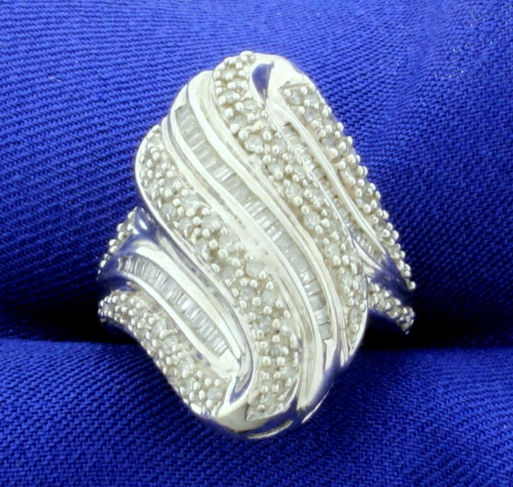 Large 1ct TW Modern Wave Design Diamond Statement Ring in 10k White Gold
