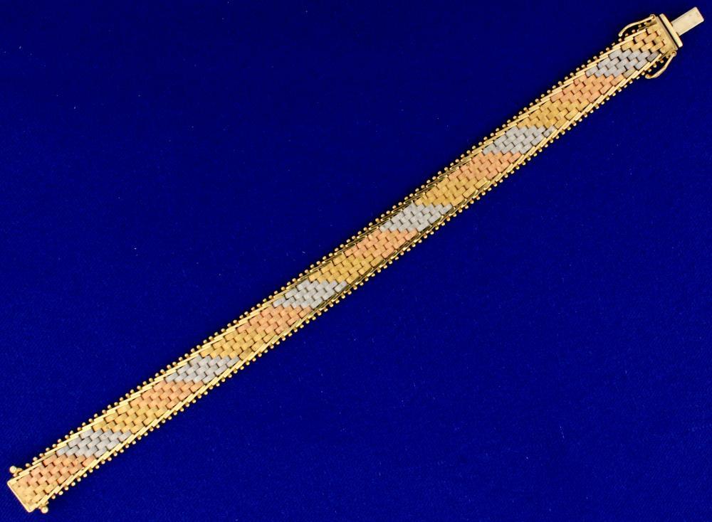 Italian Made Yellow, Rose, & White 14k Gold Bracelet