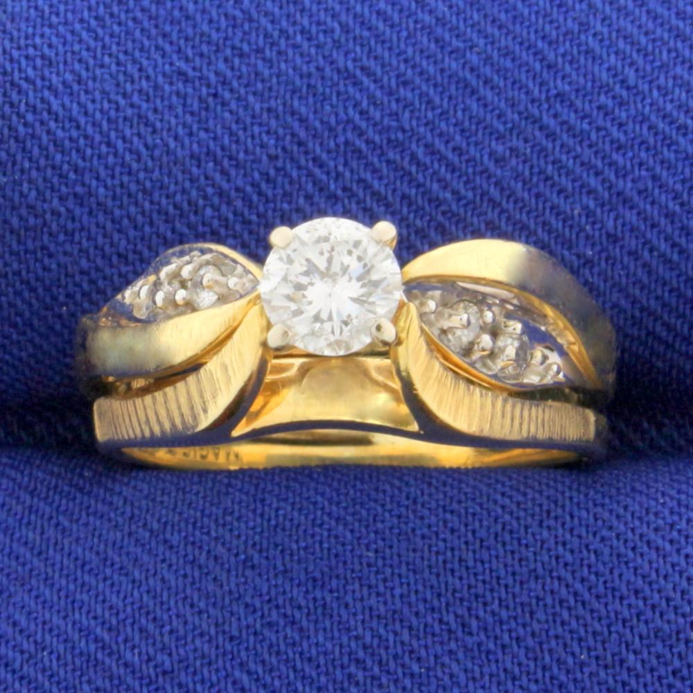 Vintage 1/2 ct TW Diamond Engagement Ring in 14k Yellow Gold