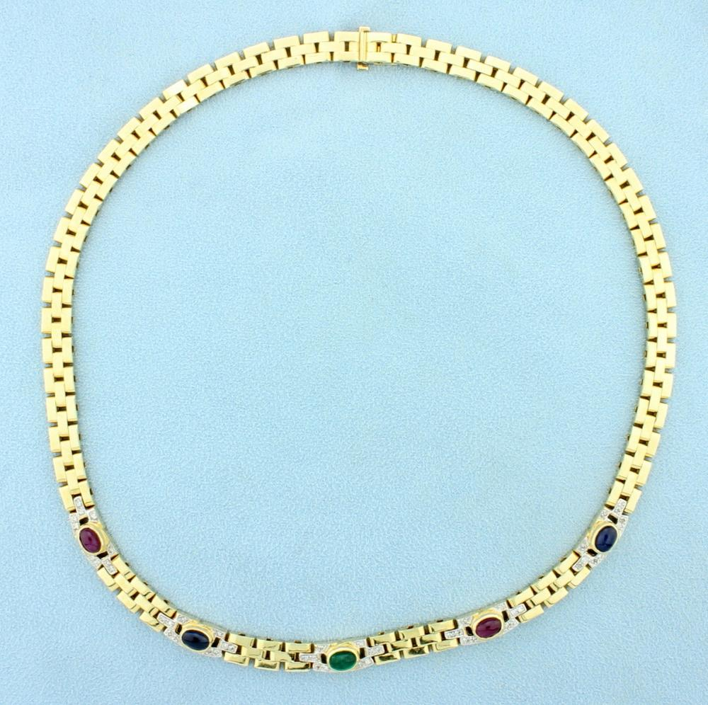Natural Ruby, Sapphire, Emerald, and Diamond Cabochon Necklace in 14k Yellow Gold