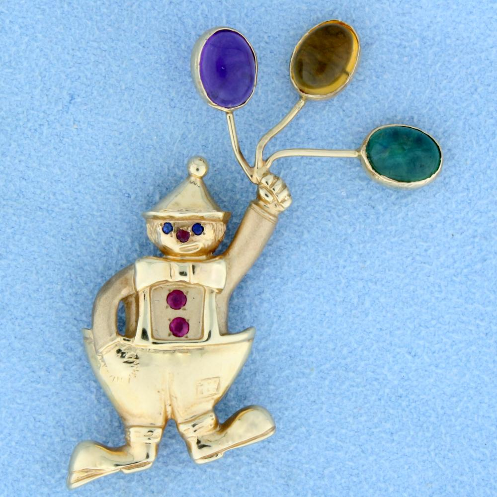 Ruby and Sapphire Clown Pin or Pendant in 14k Yellow Gold