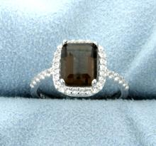 Genuine Deep Citrine Ring in Halo Design in Sterling Silver.