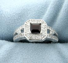 Antique Style Square Cut Garnet Ring