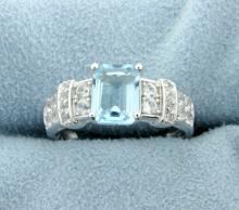 Classic Emerald Cut Sky Blue Topaz Ring in Sterling Silver