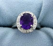 3 ct Amethyst and Diamond Ring in Platinum over Sterling Silver