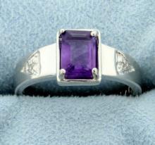Sleek 1ct Amethyst Ring with Diamonds
