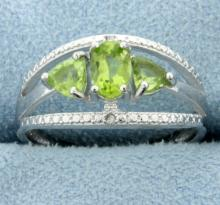 Three Stone Peridot Ring with Diamonds
