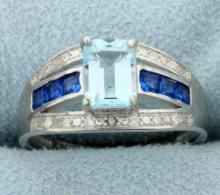 Emerald Cut 1.2ct Blue Topaz Ring with Diamonds