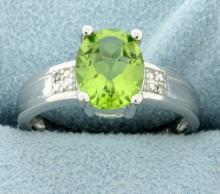 Oval 1.85ct Peridot Ring with Diamonds