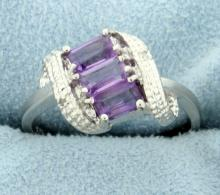 Amethyst Waterfall Ring with Diamonds