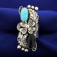 Large Onyx & Turquoise Sterling Ring