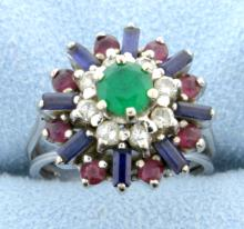 Diamond, Emerald, Sapphire, and Ruby Ring