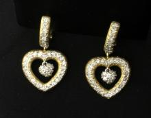 Dangle Heart Diamond Earrings