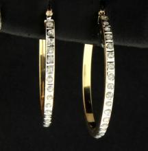 1/4 ct TW Diamond Hoop Earrings
