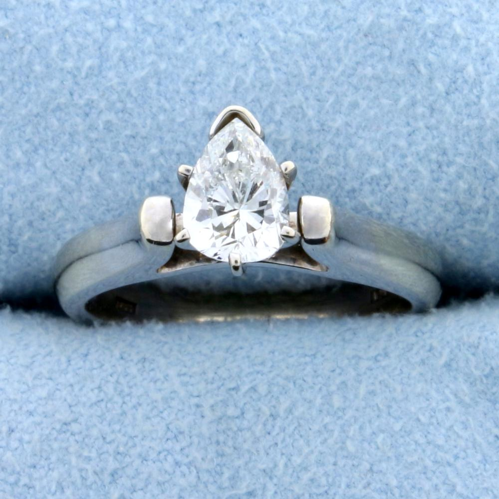 0.70 Ct Pear Diamond Solitaire Engagement Ring in 18k White Gold