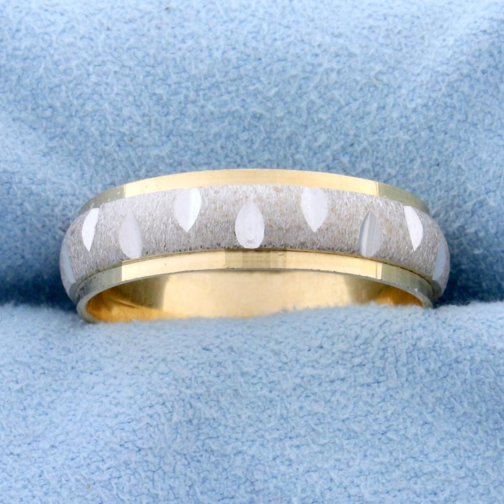Unique White and Yellow 14k Gold Diamond Cut Wedding Band Ring
