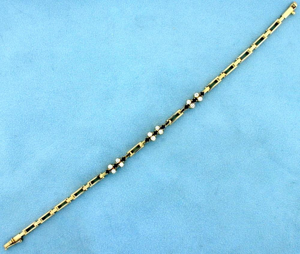 Diamond and Sapphire Bracelet in 18k Yellow Gold