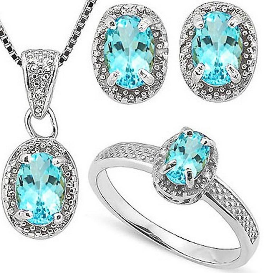 Sky Blue Topaz and Diamond Ring Earring and Necklace SET in Sterling Silver