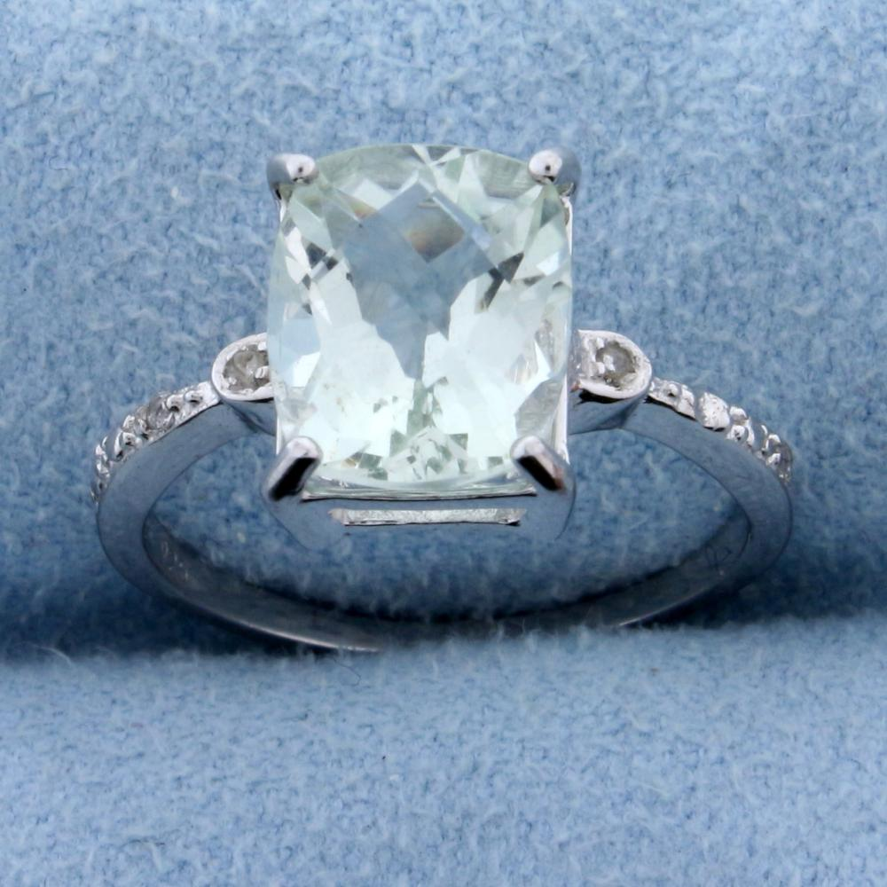 Checkerboard Emerald Cut Green Amethyst and Diamond Ring in Sterling Silver