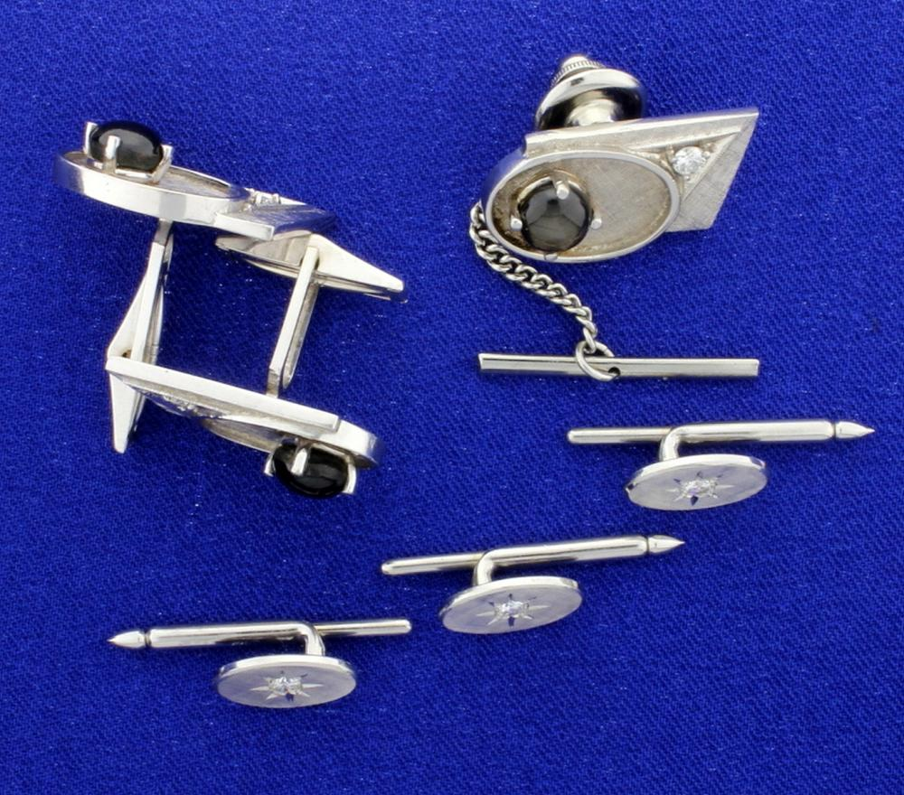 Diamond and Black Sapphire Cufflinks, Tie Tack, and Tuxedo Stud Set in 14k White Gold