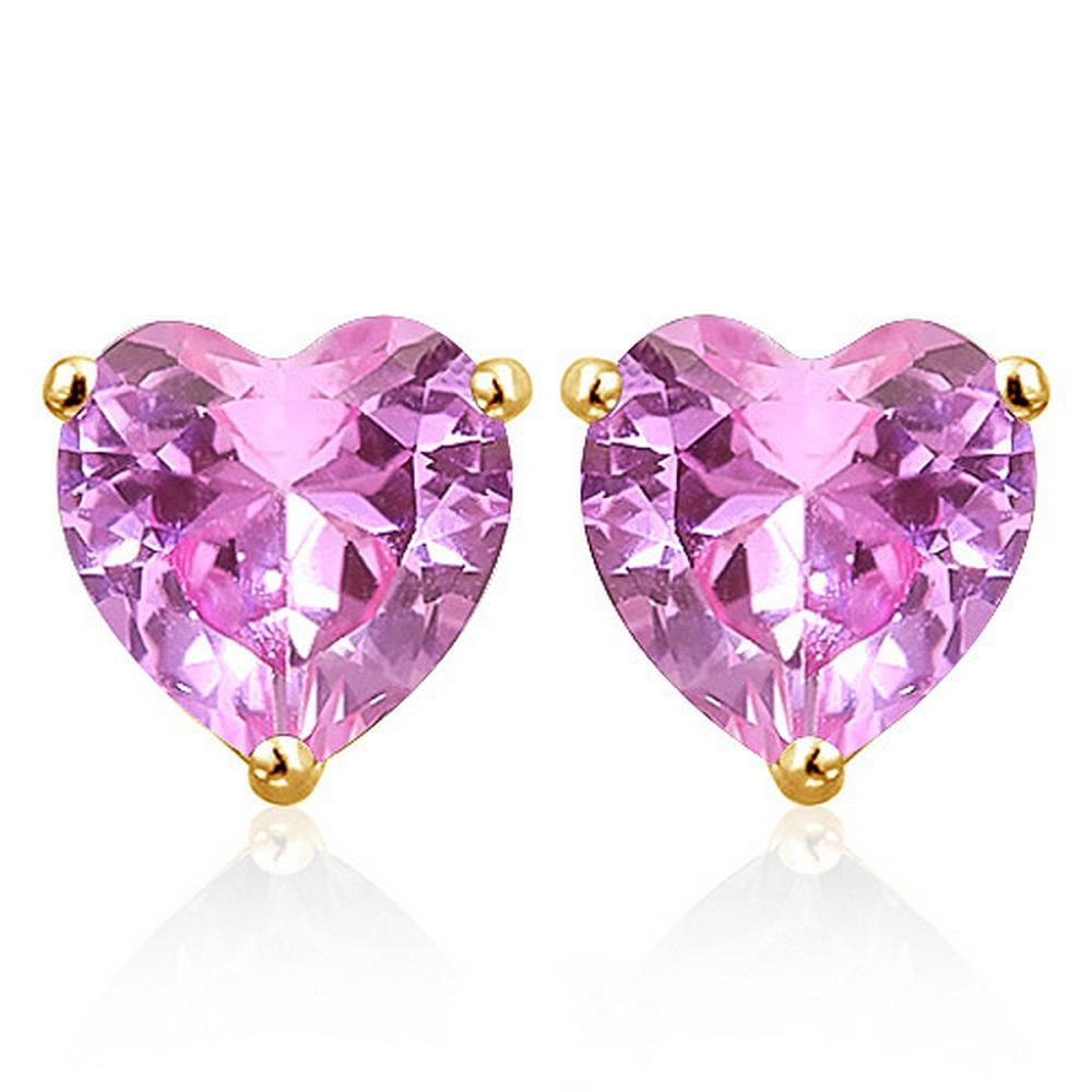 6MM Lab Pink Sapphire Heart Stud Earrings in 10k Yellow Gold