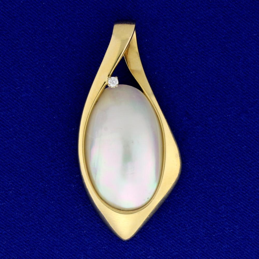 Large Mabe Pearl and Diamond Pendant or Slide in 14k Yellow Gold