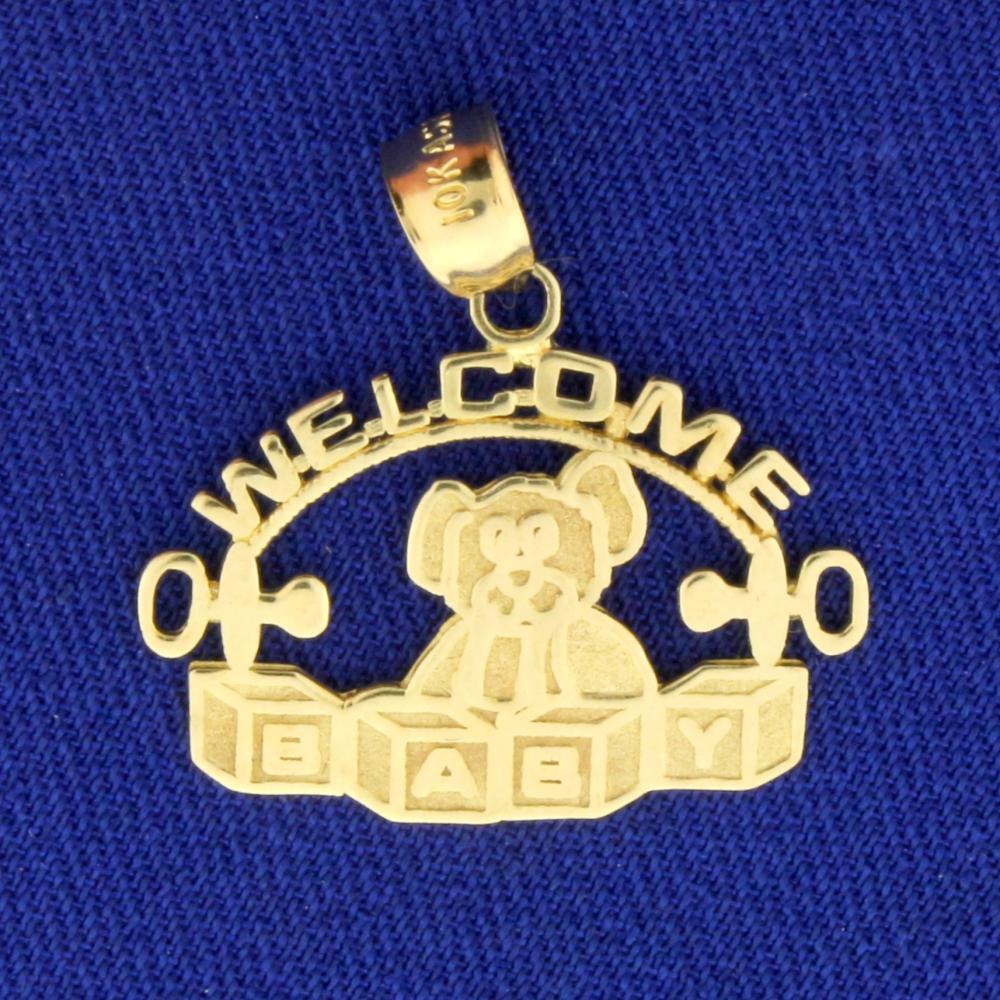 Welcome Baby Pendant in 10k Yellow Gold