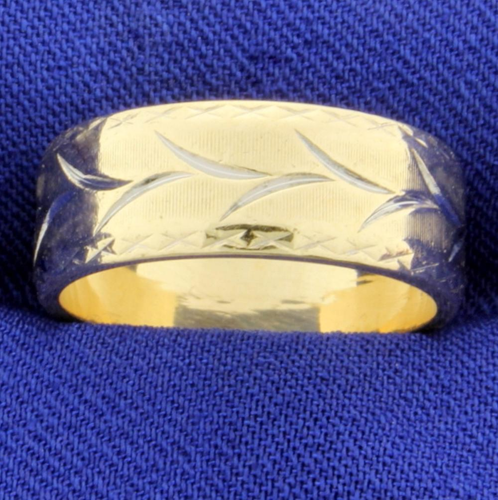 Woman's Wedding Band Ring with Etched Nature Design in 14k Yellow and White Gold