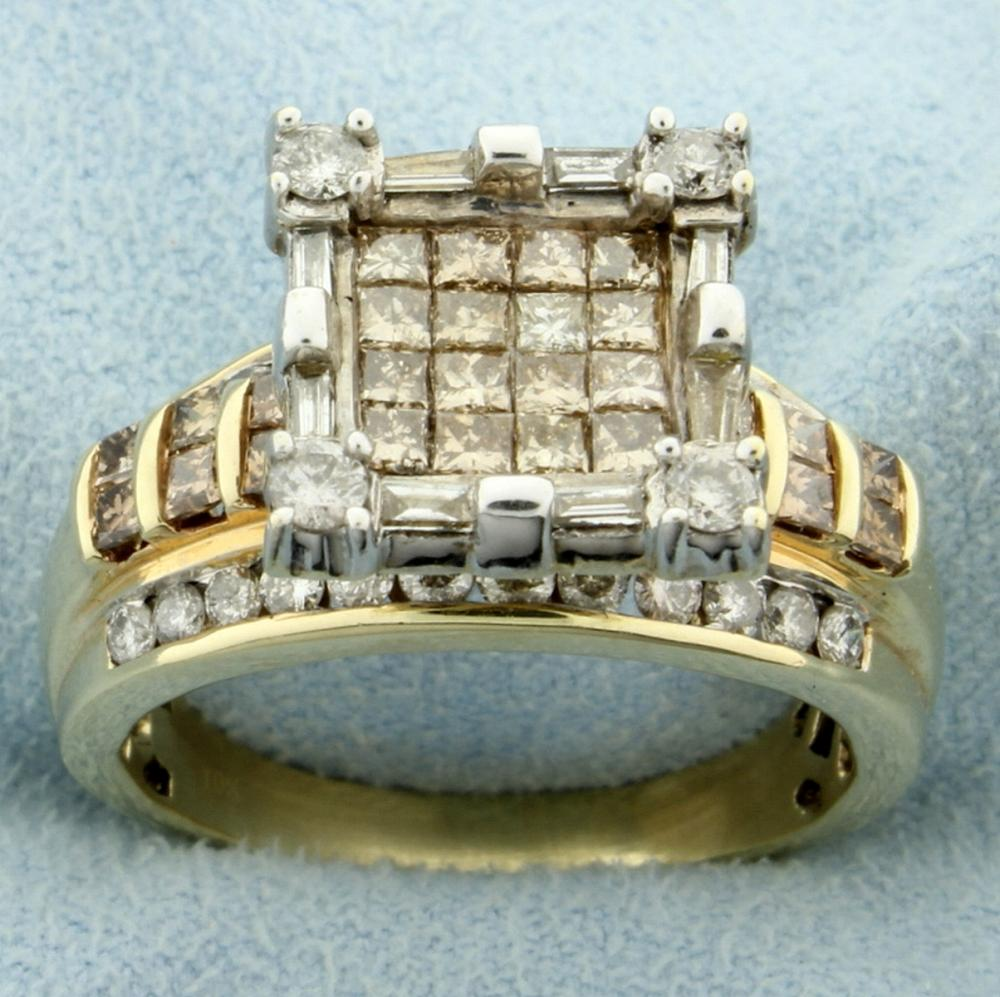 2.5ct TW Champagne and White Diamond Ring in 10k Gold
