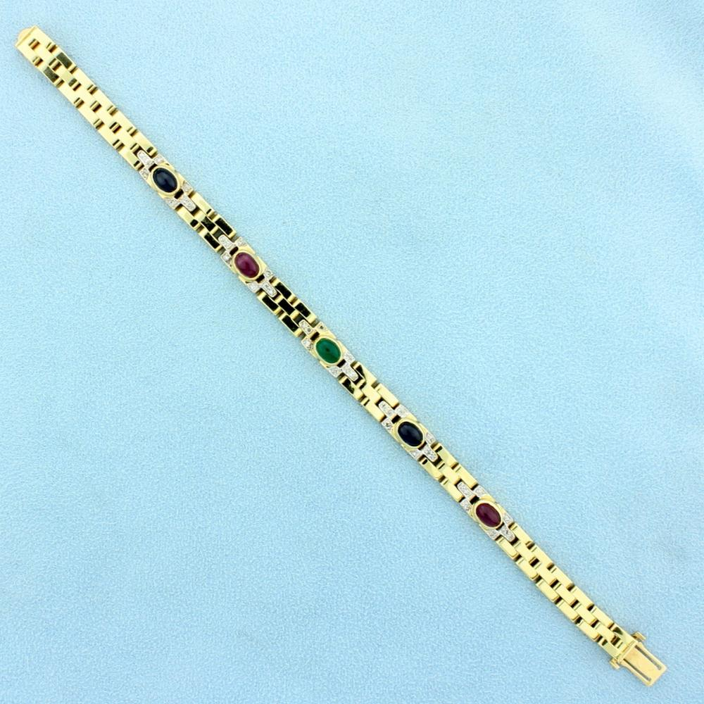 Natural Ruby, Sapphire, Emerald, and Diamond Cabochon Bracelet in 14k Yellow Gold
