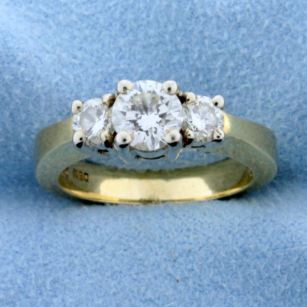Three Stone 1 1/4ct TW Diamond Engagement or Anniversary Ring in 14k Yellow Gold
