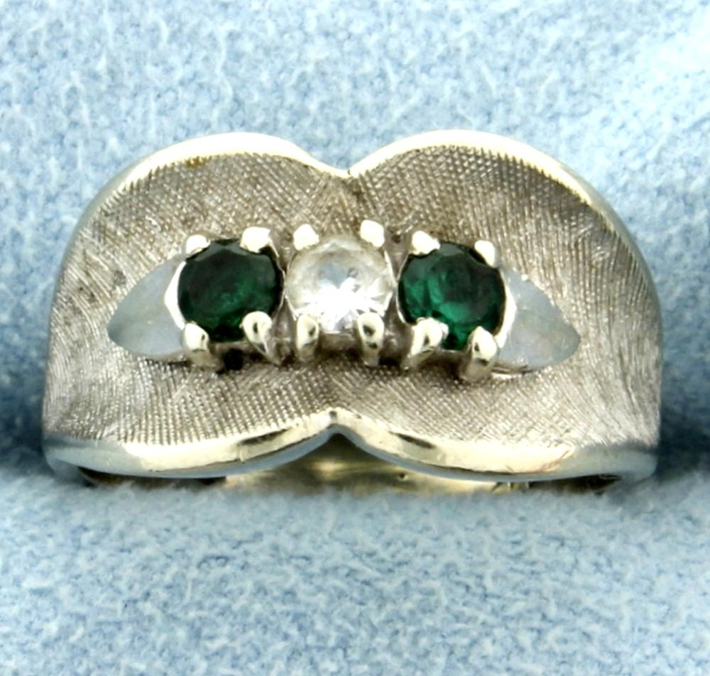 White Sapphire and Green Tsavorite Garnet Ring in 14k White Gold