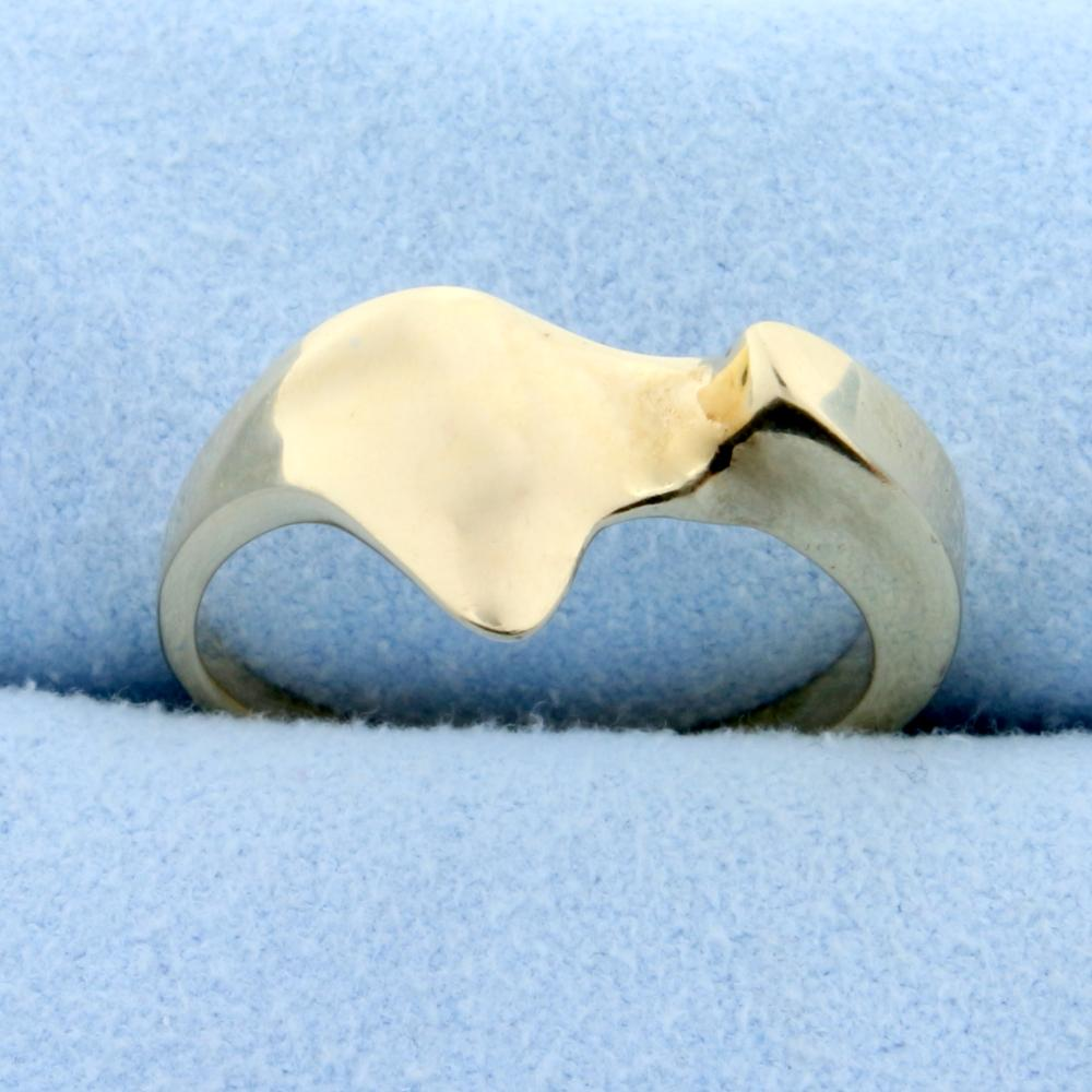 Unique Abstract Style Ring in 14k Yellow Gold