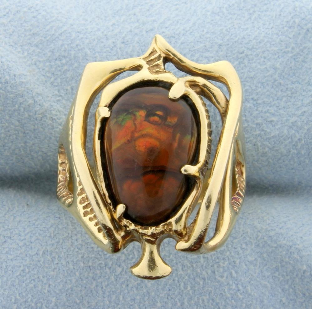 Unique Fire Agate Ring in 14k Yellow Gold