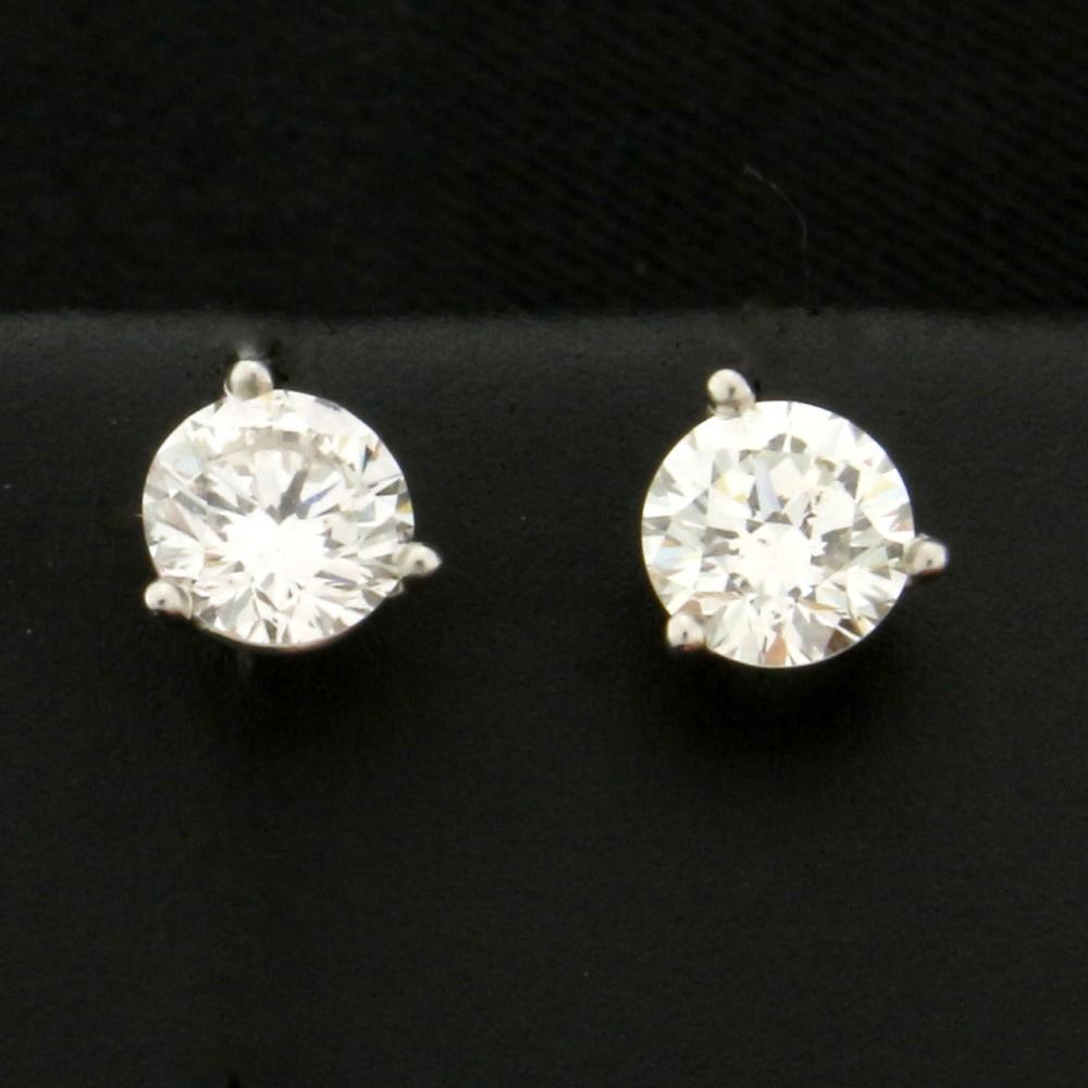 1ct TW Diamond Stud Earrings in 14k White Gold Martini Settings