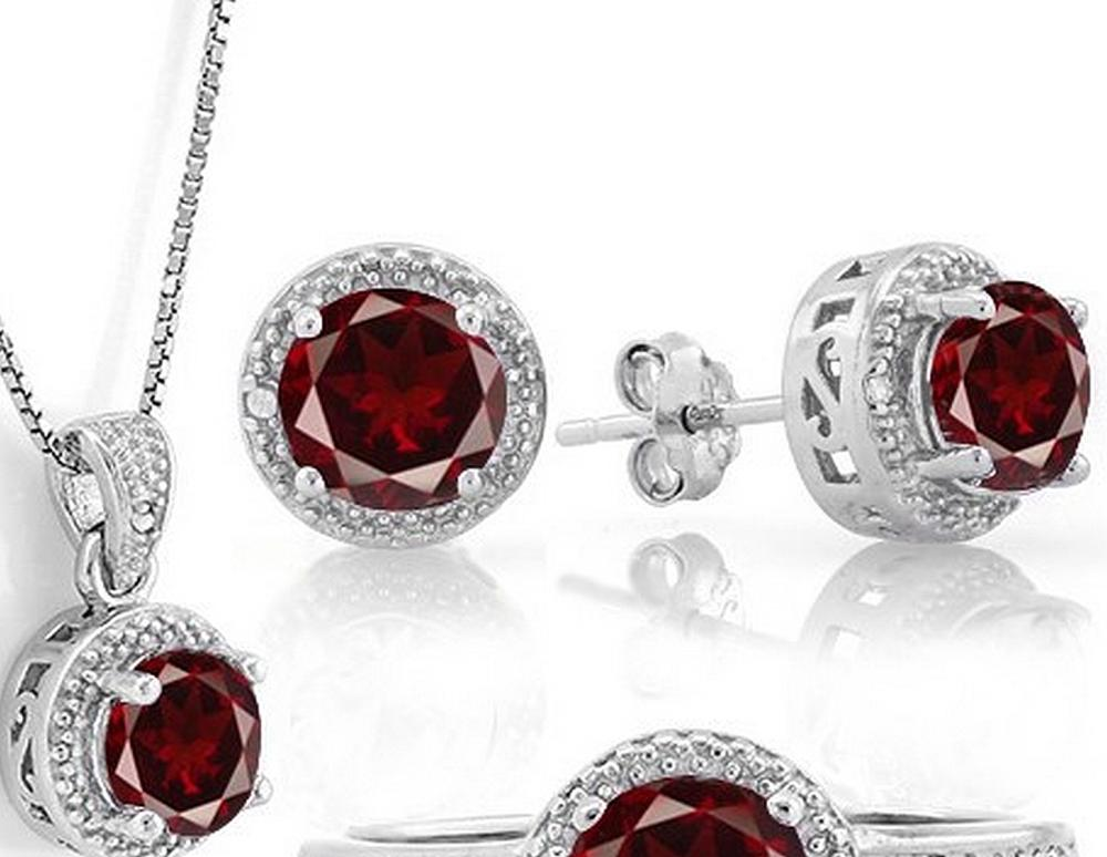 Garnet Halo Style Earring, Pendant, and Chain Set in Sterling Silver