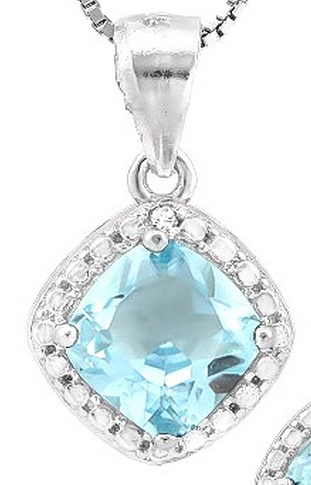 Sky Blue Topaz and Diamond Dangle Necklace in Sterling Silver