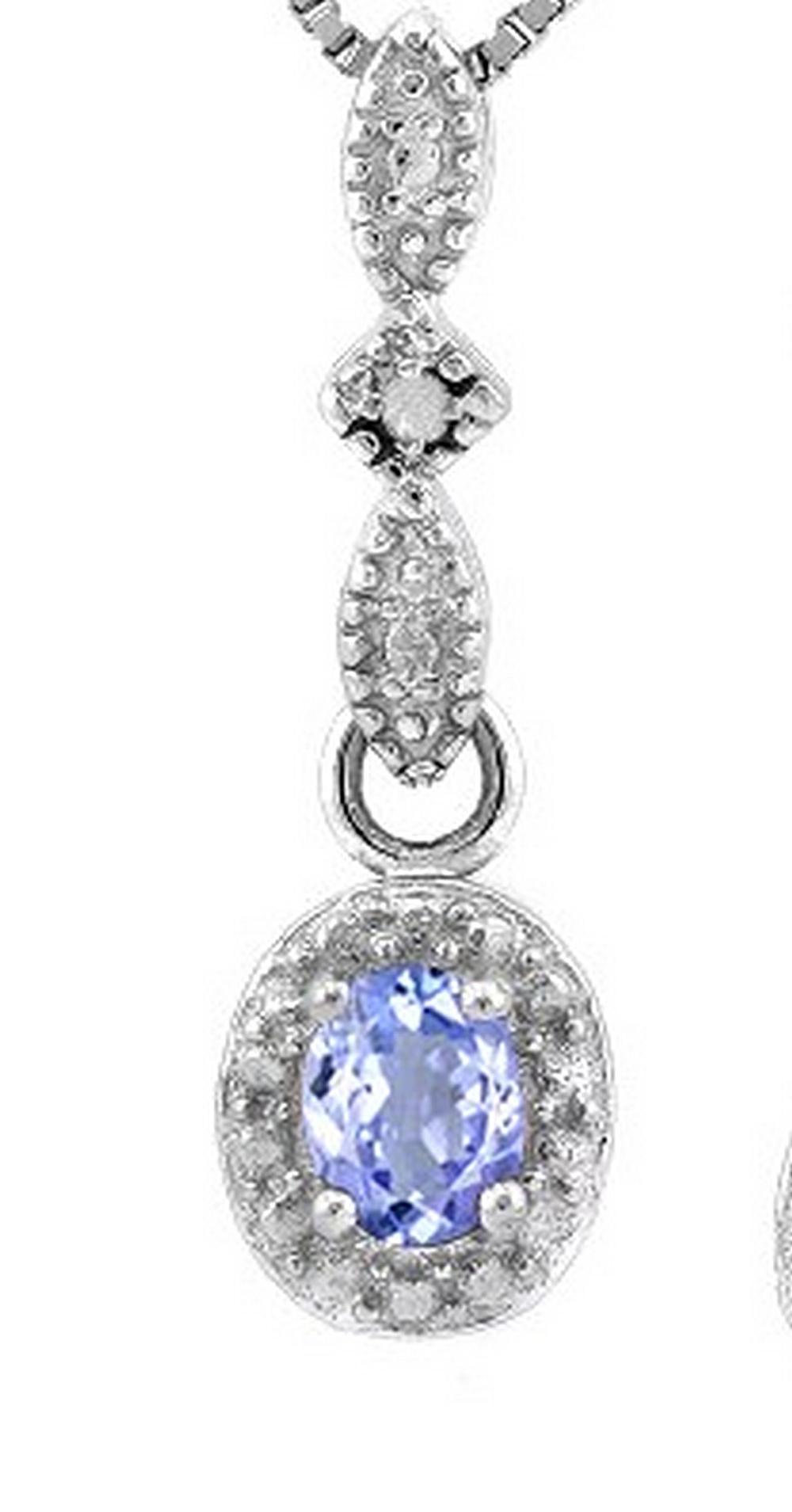 Tanzanite and Diamond Dangle Necklace in Sterling Silver