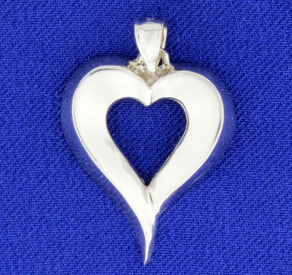 Heart Pendant in 14k White Gold