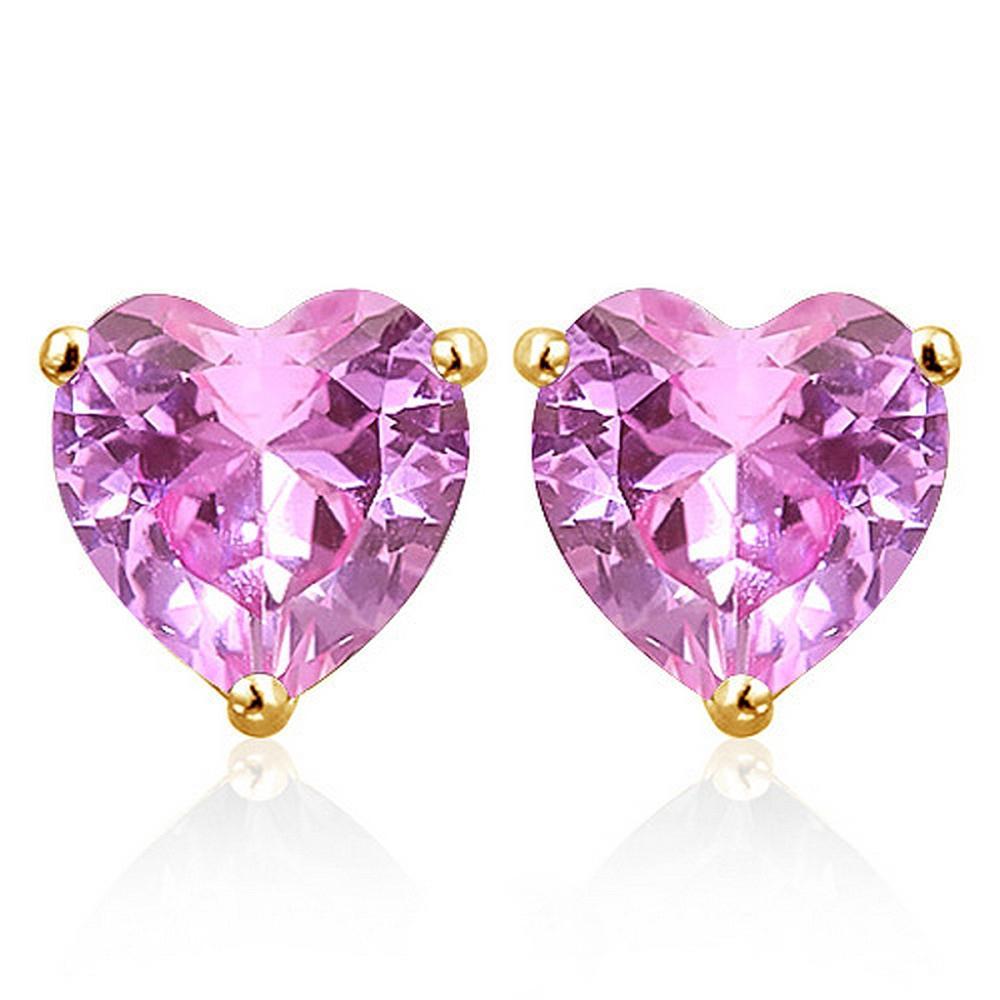 6MM Lab Pink Sapphire Heart Stud Earrings in 10k Yellow Gold