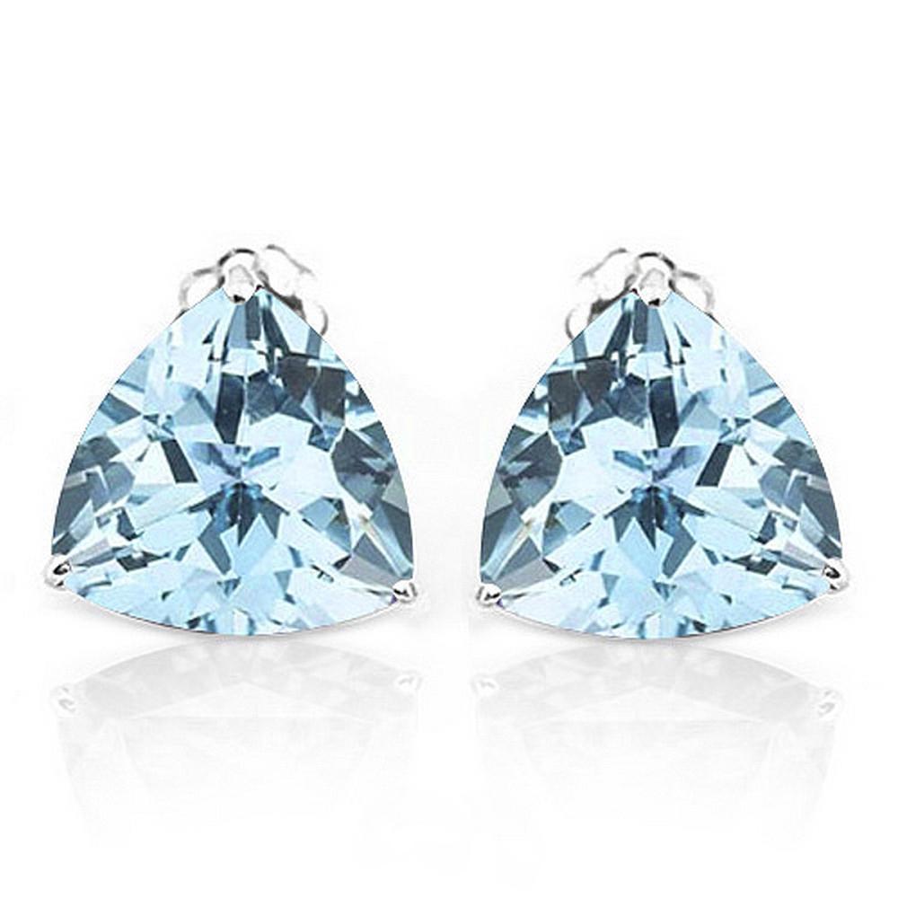 6MM Trillion Cut Natural Sky Blue Topaz Stud Earrings in Sterling Silver