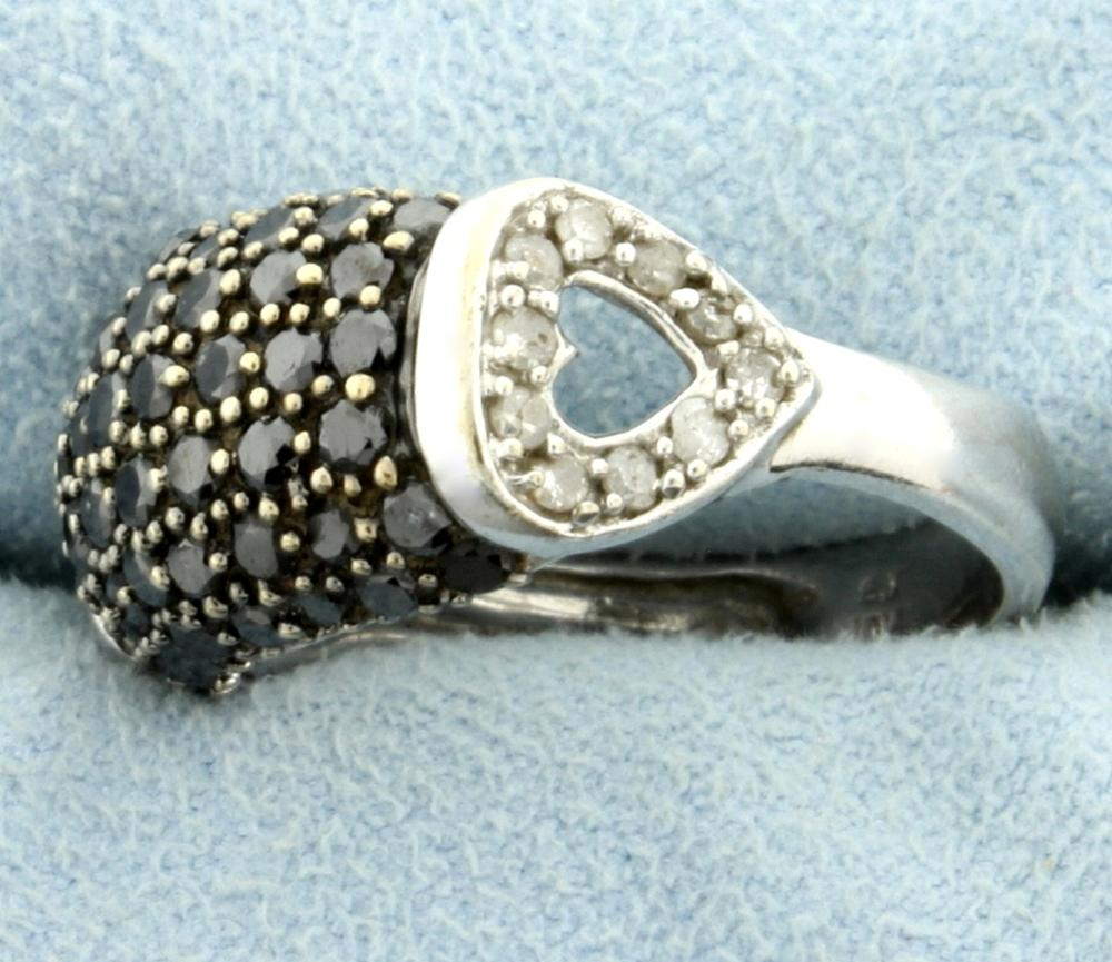 2ct TW Black and White Diamond Heart Ring in 10k White Gold