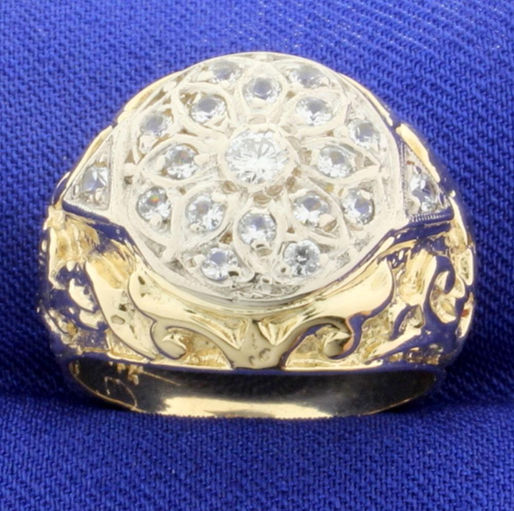 Vintage 2/3ct TW Hand Crafted Diamond Ring in 14k Yellow and White Gold