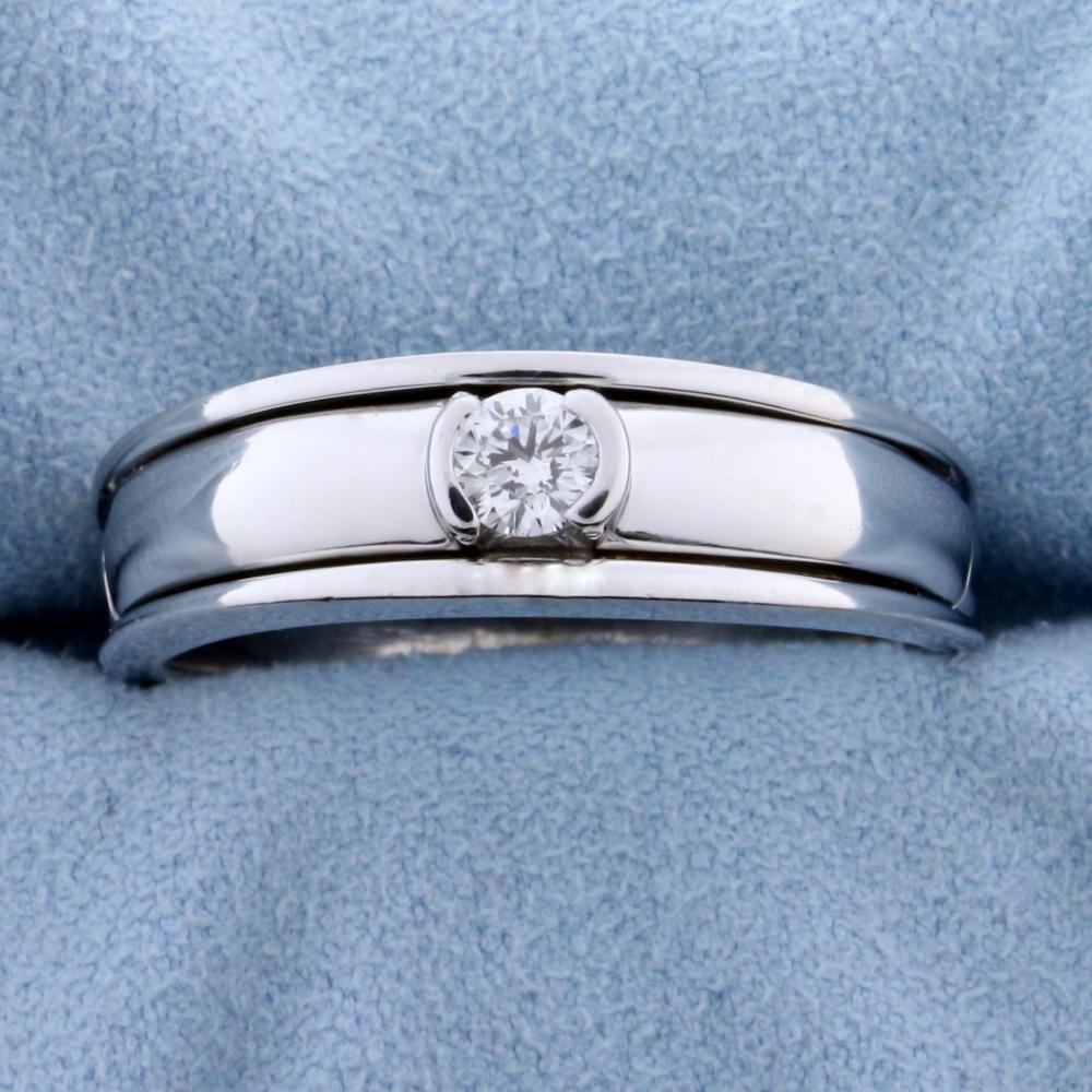 Men's 1/4ct Solitaire Diamond Ring in 14k White Gold