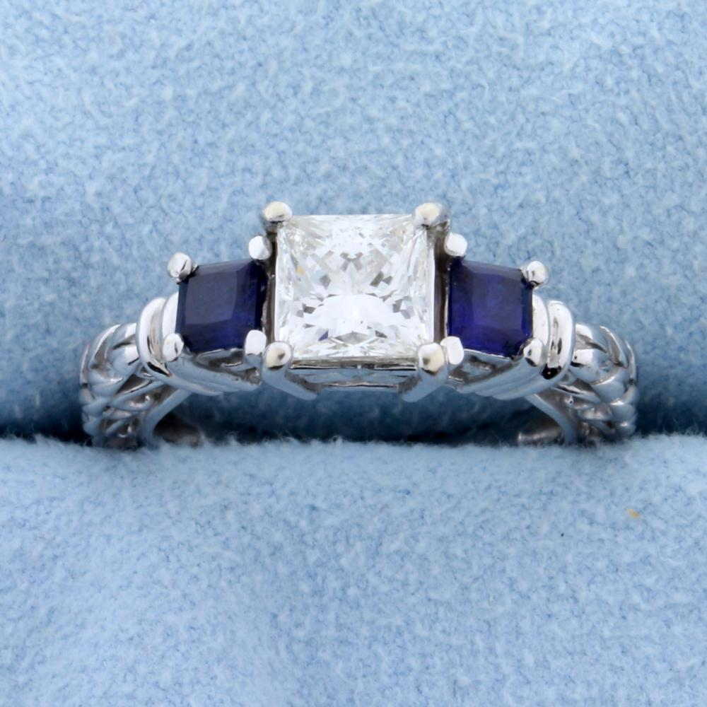 """1 carat Princess cut """"Leo"""" Diamond Engagement Ring with Sapphires in 14k White Gold"""