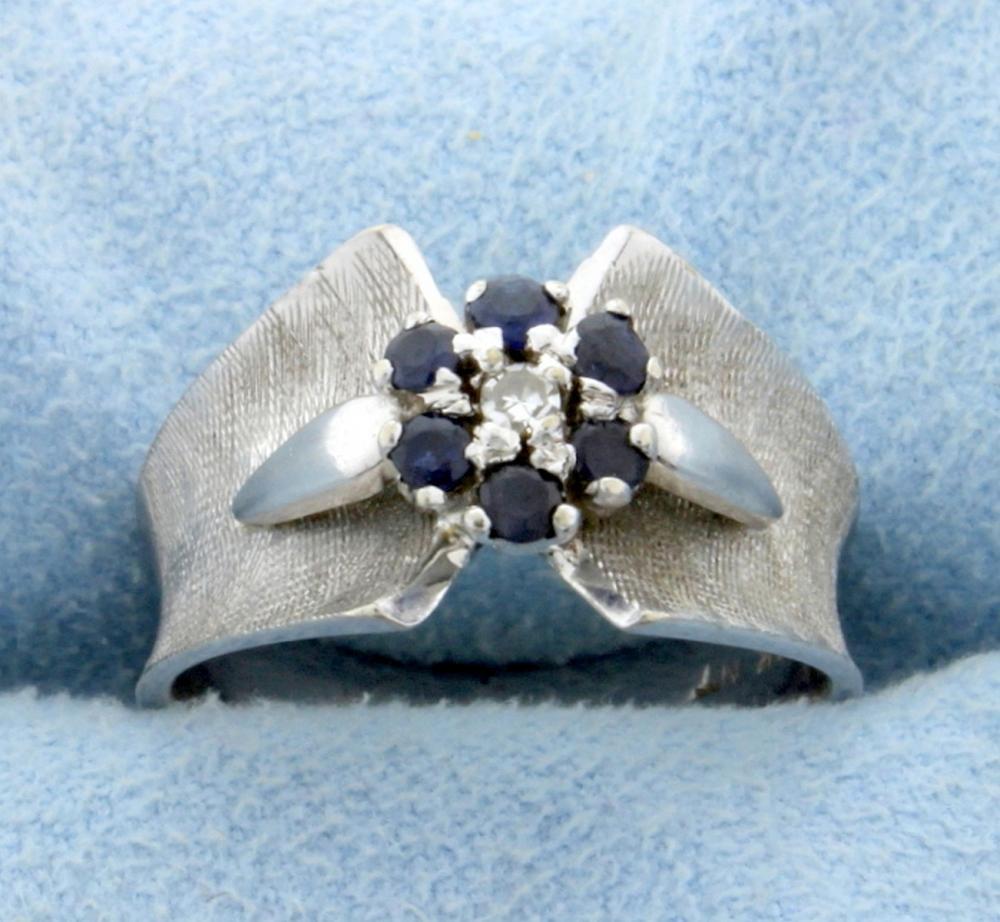 Diamond & Sapphire Ring in 14k White Gold