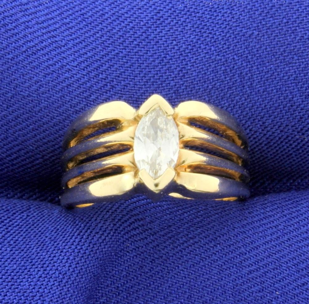 1/2ct Solitaire Marquise Diamond Engagement Ring in 14k Yellow Gold
