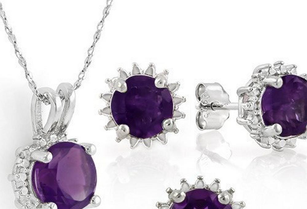 Starburst Amethyst Earrings and Pendant SET in Sterling Silver