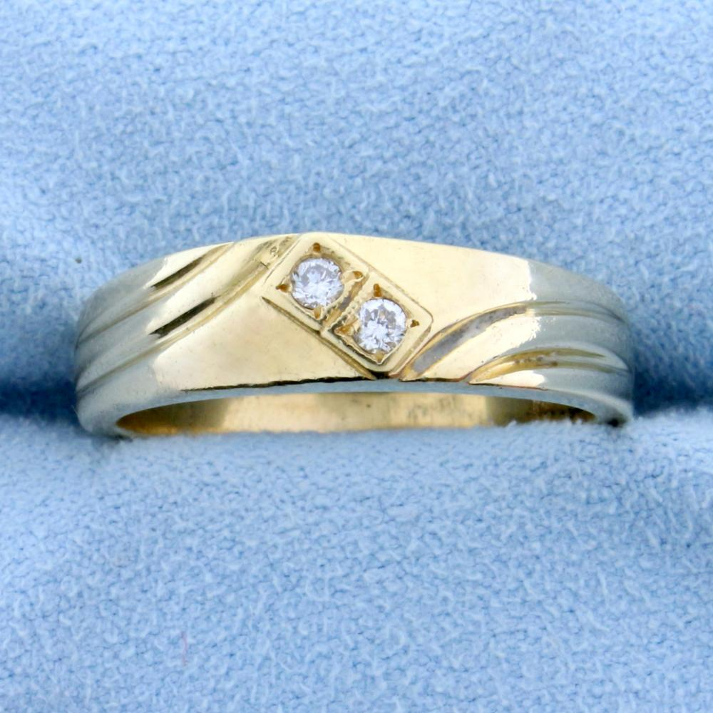Men's Two Stone Diamond Ring in 14k Yellow Gold