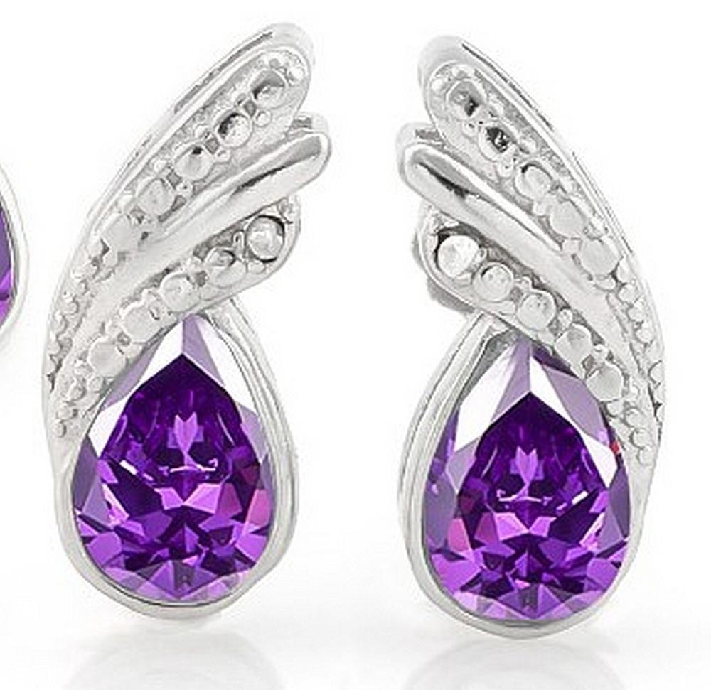 Pear Cut Amethyst and Diamond Earrings in Sterling Silver